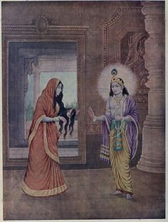 File:Draupadi telling about the story of her unfolded hair to Krishna.jpg