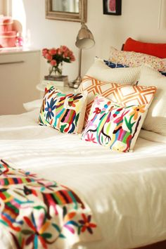 Otomi textile pillows and coverlets | Paint + Pattern