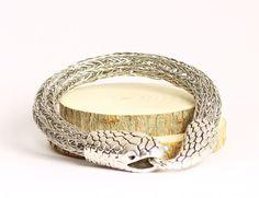 Stainless Steel Snake Head Bracelet, Gender Neutral Jewelry via An American…