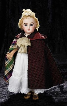 """Soirée: A Marquis Cataloged Auction of Antique Dolls and Automata - May 14, 2016: Lot 54. Very Pretty Shy-Faced French Bisque Bebe with Rare Incised """"Depose"""" Mark by Jumeau"""