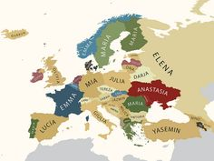Most popular boy names by country in Europe Au Pair, Anastasia, Most Popular Boys Names, World Map Wallpaper, Hd Wallpaper, Female Names, Ways Of Seeing, Photos Of The Week, Cartography