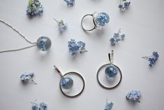 Комплект украшений из серебра с настоящими незабудками. . . . Jewellery sterling silver set with nature forget-me-nots. Ring 28$ Earrings 35$ Necklace 30 $ Belly Button Rings, Stud Earrings, Jewelry, Jewlery, Jewerly, Stud Earring, Schmuck, Jewels, Belly Rings