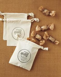 – For a Countryside Celebration: Old-Timey To-Go Bags –    Ink your thanks onto muslin pouches that your nearest and dearest can fill with candy. Download our customizable emblem, enter your text, and email the file to a stamp maker (we used Stampworx 2000, stampworx2000.biz). Bags & Bows bags, bagsnbows.com.