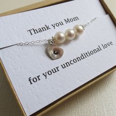 Personalized Heart Necklace for Mom & Card set, Mother of the Bride, Groom, Wedding Jewelry, Thank you Mom Jewelry,Mom  Pearl Necklace. $31.00, via Etsy.