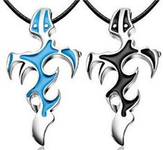 Men Blue & Black Silver Unisex Stainless Steel Cross Pendant Necklace