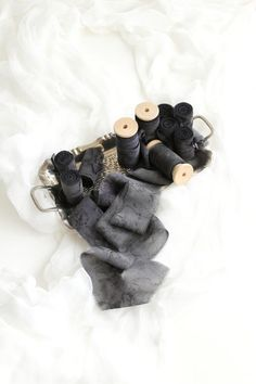 Hand dyed dark gray silk ribbons for a dramatic wedding bouquet Wooden Spools, How To Make Ribbon, Linen Bag, Wedding Stationary, Silk Ribbon, Wedding Bouquets, Wedding Styles, Real Weddings, Wedding Decorations