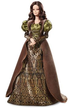 Leonardo da Vinci Barbie, designed by Linda Kyaw to evoke the mysterious Mona Lisa with her enigmatic expression, long flowing hair, and brocade gown featuring a laced satin bodice.
