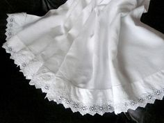 1930s French linen bed sheet with handmade Anglaise lace