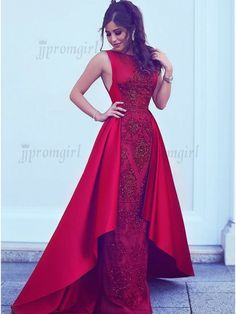 Mermaid Bateau Sweep Train Red Detachable Prom Dress with Beading