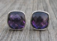 Amethyst Stud Earring, birthstone of February, by Belesas. Makes a sweet gift for those February Birthday Gals. Available in variety gemstone and finish.