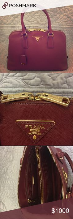 Prada Promenade Saffiano Lux Medium Handbag Beautiful, authentic bag. In very good used condition. Dark red/almost burgundy in color. No dustbag/paperwork but posh will authenticate. Would trade for another higher end. Prada Bags Satchels