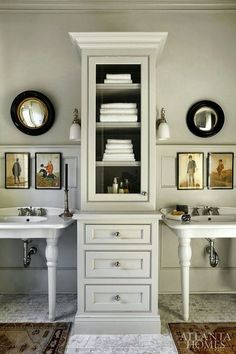 The Best No Fail Benjamin Moore Gray Bathroom Colors - laurel home | Emily Jenkins Followill | fabulous bathroom with great freestanding porcelain sinks and tall storage. Walls, Benjamin Moore HC-172 Revere Pewter | love the styling too