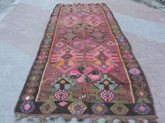"Turkish Kars Handwoven Kilim Rug Natural Wool 61 5"" x 172"" 