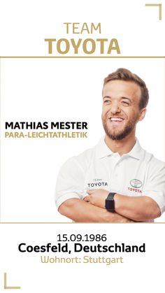 Team Toyota Deutschland: Mathias Mester.  Disziplin/Sportart: Para-Leichtathletik. #teamtoyota #teamtoyota_de #sport #olympics #paralympics #nichtsistunmöglich #roadtotokio Team Toyota, Olympic Games, Track Field, Germany