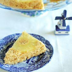 Upside down lemon cake with slightly roasted honey-ginger pineapple slices