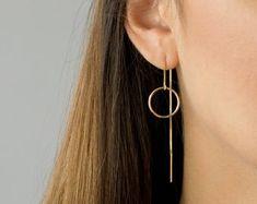Jewelry | Etsy Dainty Earrings, Chain Earrings, Circle Earrings, Gold Hoop Earrings, Women's Earrings, Bridesmaid Earrings, Wedding Earrings, Piercings, Pearl Chain