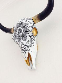 Gorgeous Boho Painted Resin Cow Skull Bull Mandala | eBay