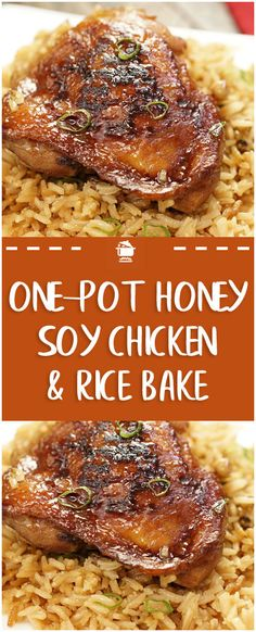 One Pot Honey Soy Chicken & Rice Bake – Page 2 – Home Family Recipes Chicken Rice Bake, Soy Sauce Chicken, Honey Soy Chicken, Easy Chicken And Rice, One Pot Chicken, Chicken Legs, Healthy Chicken, Recipes With Soy Sauce, Honey And Soy Sauce