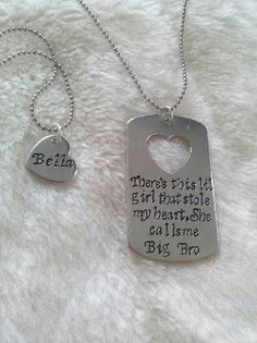 Big Brother, Little Sister Gift Hand Stamped Dog Tag Necklace SET Custom Personalized Keychain -  Birthday, Christmas Present