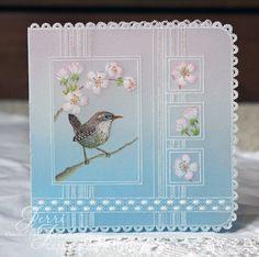 pretty little bird by Jerri Jimenez (gorgeous work) Barbara Gray Blog, Parchment Design, Parchment Cards, Butterfly Template, Silk Ribbon Embroidery, Pop Up Cards, Bird Design, Little Birds, Machine Embroidery Designs