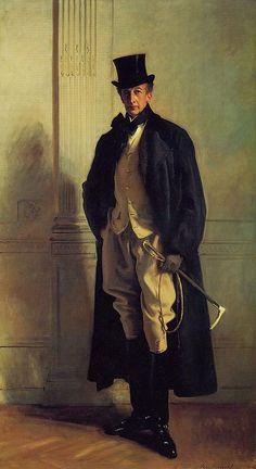 John Singer Sargent Lord Ribblesdale - Jodhpurs, Top Hat, Cravat: studied casualness.