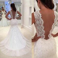 Mermaid V-neckline Illusion Back Lace Wedding Dresses