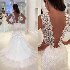 Mermaid V-neckline Illusion Back Lace Wedding Dresses