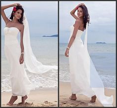 Wholesale A-Line Wedding Dresses - Buy Simple Chic Cheap Strapless Long White Ruffle Chiffon Beaded Beach Style A-line Wedding Dresses, $99.0   DHgate( love love love love this!!)