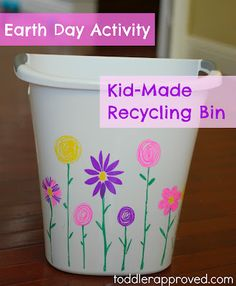 Simple Earth Day activity. Make your own recycling bin. Do you have any fun ways that you teach your kids about recycling?