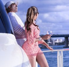 To celebrate his birthday, celebrated TV host, comedian and actor, Steve Harvey and his wife Marjorie went on a boat cruise yesterda. Steve Harvey Wife, Marjorie Harvey, Black Celebrities, Celebs, Love Couture, Celebrity Style Inspiration, Elie Saab, Sexy Dresses, Passion For Fashion