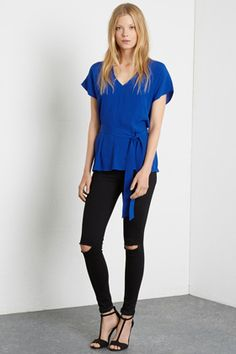 Tops | Blue BELTED V NECK TOP | Warehouse