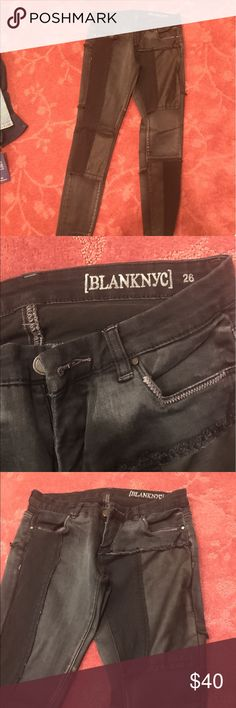 Blank patched jeans Black Blank patched jeans with leather Blank NYC Jeans Skinny