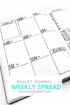 Bullet Journal Weekly Spread from Bullet Everything. Read about it and downloads the templates!