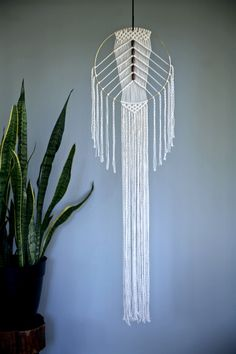 """Macrame Wall Hanging - 50"""" Natural White Cotton Rope & 12"""" Brass Ring w/ Wooden Beads - MADE TO ORDER by BermudaDream on Etsy https://www.etsy.com/listing/252886011/macrame-wall-hanging-50-natural-white"""