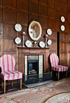 stripes in English panelled room