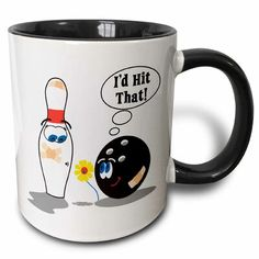 East Urban Home Id Hit That Bowling Ball Thinks to Pin Bowling Humor Sports Design Coffee Mug Color: Red/Yellow/Black Espresso Cups Set, Cappuccino Cups, Coffee Mug Sets, Mugs Set, Home Id, Custom Printed Mugs, Bowling Ball, Red Interiors, Cupping Set