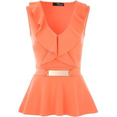 Jane Norman V Front Frill Peplum Top (2.885 RUB) via Polyvore featuring tops, coral, women, jane norman, flutter-sleeve top, ruffle top, frilly tops и v neck peplum top