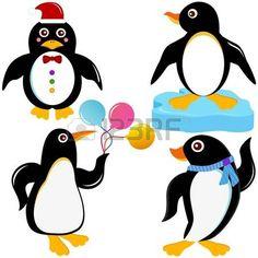 Un conjunto de colores de los iconos de animales lindos: Aves Marinas - Penguin photo