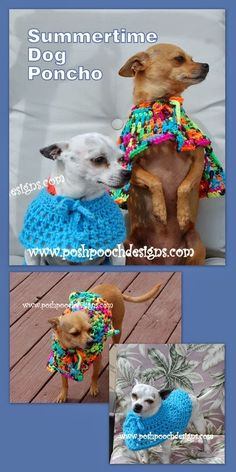Posh Pooch Designs Dog Clothes: Summertime Dog Poncho Crochet Pattern