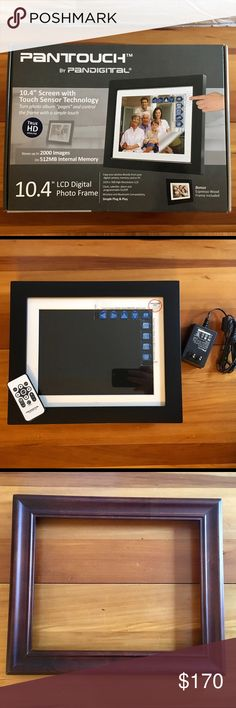 """Pantouch LCD Digital Photo Frame •10.4"""" Screen w/Touch Sensor Technology •True HD 1024x768 High Res LCD  •Stores up to 2000 Images on 512 Internal Memory (or attach memory card) •Copy photos directly from digital camera, memory card or PC. •Clock/calendar/alarm/program On/Off. •Wireless & Bluetooth Compatibility. •Simple Plug & Play.  Includes: Frame, Black Wood & Espresso Wood Frame (2), AC Adapter, Remote Control, Quick Start Guide, User Manual, Original Box (please see last photo for…"""