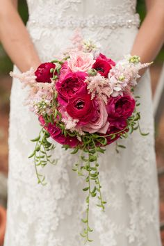 red and pink bridal bouquet | Whimsical Garden Wedding Inspiration Shoot | Bumby Photography | see more: http://bridalmusings.com/2013/09/whimsical-garden-wedding-inspiration-shoot/