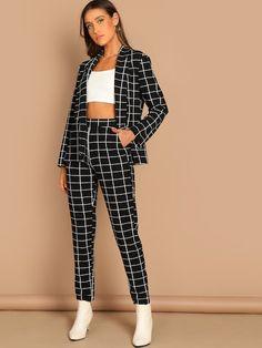 86925c7d5d368 Shop Grid Print Blazer   Pants Set online. SheIn offers Grid Print Blazer    Pants