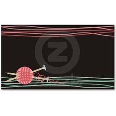 knitter pink cute yarn balls needles business card business