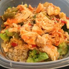 Super easy healthy meal idea: 1/2 cup microwave brown rice (7 mins in microwave). 1 head of cooked broccoli. Chicken breast with hot sauce on top. Yum and you can make the day before to bring to work for lunch. Follow me on IG: scarly29