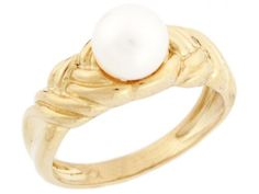 14k Solid Gold Freshwater Cultured Pearl Woven Design Solitaire Ring Jewelry (Style#2956), Women's, Size: 5.00, White