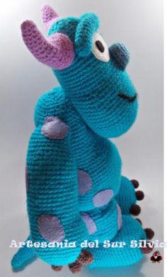 amigurumi sullivan monstruos s.a,  lana acrílíca 100%,fibra para el relleno,fieltro crochet