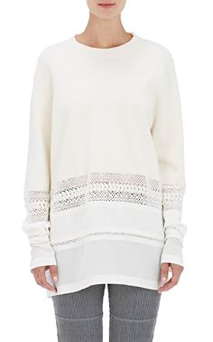 Crocheted-Inset Sweater