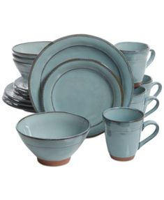Laurie Gates Valencia Teal 16-Pc. Dinnerware Set