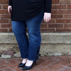 """Stretchy straight leg jeans with ankle zippers Size 18 jeans runs a little generously with an elastic panel along the back for a comfortable fit throughout the waist. I'm 5'4"""" and short waisted with long legs, and these pants were just a tad bit short on me. If you're petite or average height with a longer torso, these may be a better fit on you. They're super soft and stretchy, and the faux leather trim along the ankle zipper is a fun touch. Jeans Straight Leg"""