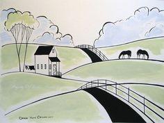 Original Painting Folk Art Acrylic Country Landscape Horses Farmhouse Farm Wash | eBay